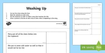 Washing Up Story Sequencing Worksheet / Activity Sheet  - worksheet / activity sheet, worksheet, story, sequencing, sentences, comprehension, worksheet, washing up,Irish
