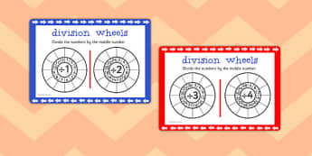 Division Wheels Maths Challenge Cards - division, wheels, maths