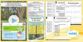 PlanIt Y1 Language Conventions: Sequencing Sentences to Form Short Narratives Lesson Pack - Language Conventions, Australia, Spelling, Punctuation, Grammar, short sentences, activity sheets, l