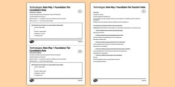 La tecnología 4 Juego de rol Foundation Tier - spanish, Technologies, role play, foundation, speaking, tecnología