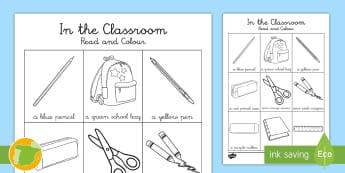 Lee y colorea: Objetos de la clase en Inglés (8 palabras) - colores, Colour, Read, escuela, School, Stationery, EFL, ESL, Spanish