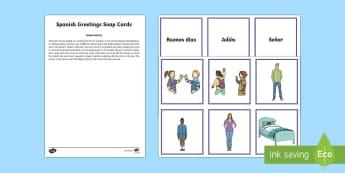 Greetings Snap Card Game Spanish - Spanish, Vocabulary, KS2, greetings, snap, card, game, common, words, phrases,Scottish