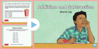 Year 4 Addition and Subtraction Maths Warm-Up PowerPoint - KS2 Maths warm up powerpoints, ks2 warm up powerpoints, KS2 warm up powerpoints, Year 4 maths, year