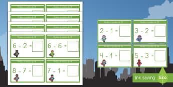 Tarjetas educativas: Restas a partir de 10 - Superhéroes - restar, restas, sustracción, mates, matemáticas, operaciones, cálculo, tarjetas, superhéroes, su