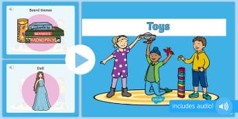 Παρουσίαση με ήχο: Τα παιχνίδια στα αγγλικά - παιχνλιδι, παιχνίδια,κούκλα, αυτοκίνητο, χαρταετός, μο