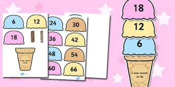 Counting in 6s Ice Cream Activity - maths, numeracy, count, on, add, lots of, numbers, sequence, pattern, work, sheet, fun, game, six, sixes, times table, multiplication, ks1, ks2