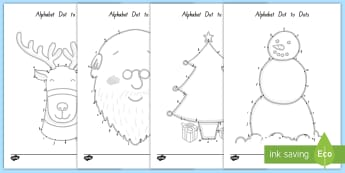 Christmas-Themed Alphabet Dot to Dot Worksheet / Activity Sheet - xmas, alphabet, christmas, dot to dot, literacy
