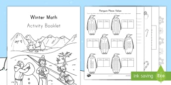 Winter Math Activity Booklet - Place value, Fact Families, Addition, Color by Number, Comparing Numbers, Tens and Ones, Winter Brea