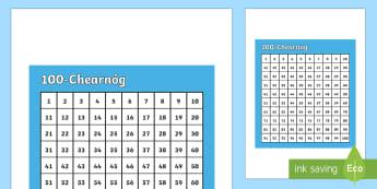 100-Chearnóg (Céad-Chearnóg) - Number square, uimhir-chearnóg, céad-chearnóg, hundred square, Counting, ag comhaireamh, Numbers