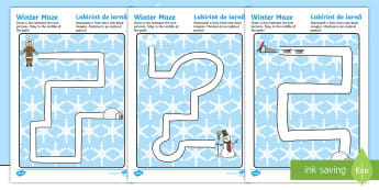 Winter Pencil Control Path Activity Sheets English/Romanian - winter, pencil control, pencil control worksheets, fine motor skills, worksheets, EAL
