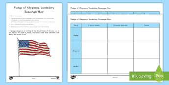 Pledge of Allegiance Vocabulary Scavenger Hunt - United States, US, Veterans Day, Military, Soldier, Army, Navy, Marine, Coast Guard, Air Force, key