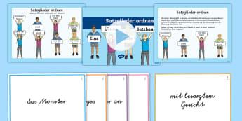 Satzglieder ordnen Übungsaufgaben - Satzbau, Syntax, Satzglieder, Subjekt, Prädikat, Objekt, Powerpoint, Spiel,,German
