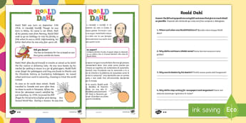 Roald Dahl Differentiated Reading Comprehension Activity English/Italian - Roald Dahl, 100 years, author, writer, famous, fiction, characters, humorous, Charlie and the Chocol
