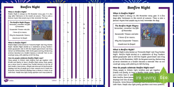 KS1 Bonfire Night Differentiated Reading Comprehension Activity