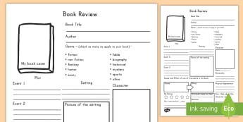In Depth Book Review Writing Template - book review, template, writing, English, independent writing, worksheet