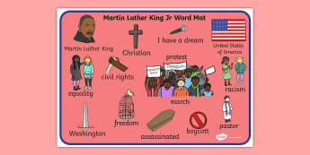 Martin Luther King, Jr. Word Mat - martin luther king jr, word mat, mat