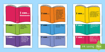 LKS2 I Can Reading Statements on Books Display Posters - 2014 National Curriculum LKS2 Years 3 and 4 Reading Assessment I Can, books,english assessment display, speec