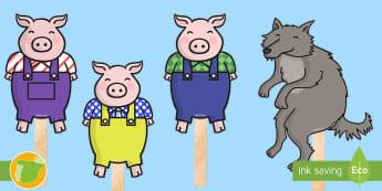 Marionetas de palo: Los tres cerditos - Cuentos, tradicionales, animales, construcción, cerdos, casas