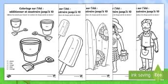 Coloriages et additions : L'été - Coloriages et additions, été, saisons, additions, soustractions, coloriages par numéro, coloriage
