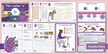 The Journey to Cursive: The Letter \'z\' (Zigzag Monster Family Help Card 1) KS2 Activity Pack - English -  Nelson handwriting, penpals, fluent, joined, legible, zig-zag, handwriting, letterjoin, handwriting
