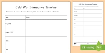 Cold War Timeline Activity Sheets - Cold War, USA, United States, Russia, Soviet Union, Conflicts, Wars, American History