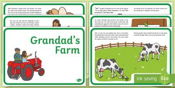 Exploring My World - Grandad's Farm  Story - English - aistear, story, farmyard, chicken, food, cows, growing, Jaz
