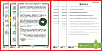 CfE Christmas Symbols Differentiated Reading Comprehension Activity - Christmas, Celebration, symbols, christianity, Star, Angel, Holly, Wreath,Scottish