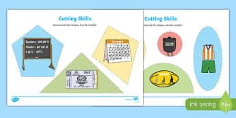 AFL Australian Football League Cutting Skills Activity Sheet, worksheet