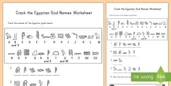 Crack the Hieroglyphs Egyptian God Names Activity Sheet - hieroglyph, code, Egypt, activity, history, ancient, worksheet