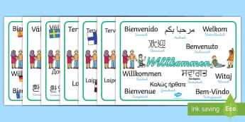 Verschiedene Sprachen Willkommen Wortschatz: Querformat - Verschiedene Sprachen Willkommen Wortschatz Querformat, Fremdsprachen, Willkommen in Fremdsprachen,