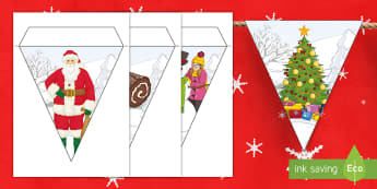 Christmas Display Bunting - secondary, santa, rudolph, banner, decoration, tree,