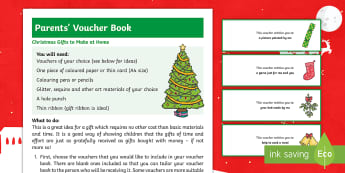 Christmas Voucher Gift Book Craft Instructions - xmas, gift, parents, family, home made, present