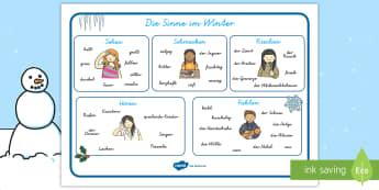 Winter Sinne Wortschatz: Querformat- - Winnter Sinne Wortschatz, Querformat, Winter, Winter Wortschatz, Jahreszeiten, Fühlen, Sehen, Höre