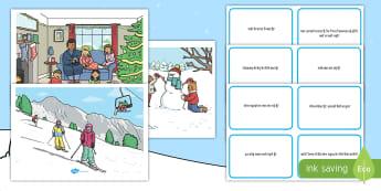 शीतकालीन दृश्य और प्रश्न - शीत ऋतु, कार्ड्स, क्रिसमस, स्की, बर्फ, ह