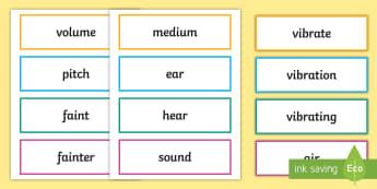 Sound Scientific Vocabulary Cards - sound, science, scientific, vocabulary, word wall, vibrations, physics, hearing, senses, volume, ear