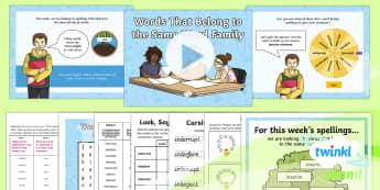 PlanIt Y6 Term 2A W5: Word Families Based on Common Words Spelling Pack - Spellings Year 6, Year 6, Y6, spelling, SPaG, GPS, lists, weekly, weeks, word family, families, lett