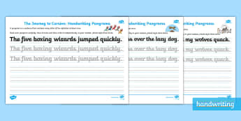 The Journey to Cursive: KS1 Handwriting Pangram Assessment Activity Sheets - Handwriting, Joined, Assess, Review, Cursive, worksheets