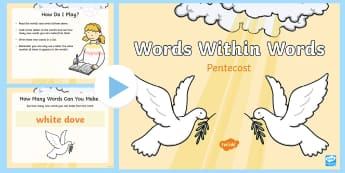 Pentecost: Words within Words game  PowerPoint - phonics, spelling, literacy, game, english, starter, logic