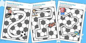 Football World Cup Pencil Control Path Worksheets - football