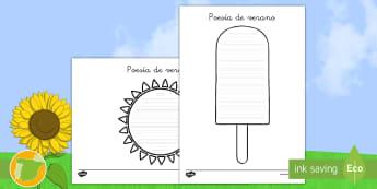 Poesía de formas: Verano - poesía de formas, poesía, poema, poemas, verano, estaciones, estación, polo, sol, escritura, leng