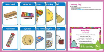 Listening Bag  Busy Bag Prompt Card and Resource Pack - sounds, instruments, phonics, phase 1 phonics, sound games, preschool games, toddler games