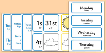 Weather Calendar Spanish Translation - spanish, Weather calendar, Weather chart, weather, calendar, months, days, weather display, date display, rain, sun, snow, fog, cloud