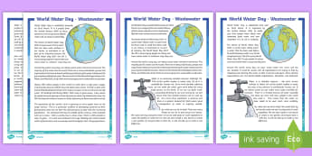 World Water Day 2017 Differentiated Fact File - CfE World Water Day (22nd of March) wastewater, sustainable, water, waste, reading comprehension,,Sc