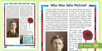 John McCrae Fact File - john mccrae, canadian, remembrance day, poppy, flanders