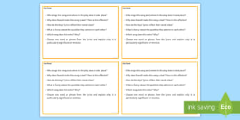 My Friend  Question Cards - GCSE English Literature, Drama, Contemporary Drama, Modern Drama, Lyrics, Song.