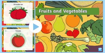 Φρούτα και λαχανικά παρουσίαση στα αγγλικά - παρουσίαση, φρούτα, μπανάνα, μήλο, καρότο, αχλάδι, ελλην