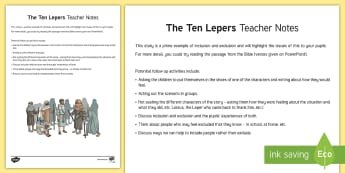 The 10 Lepers Teacher Guide - Northern Ireland Curriculum RE Reconciliation Ten Lepers Leprosy
