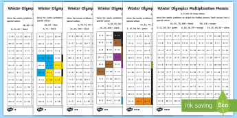 KS1 Winter Olympics Multiplication Mosiac Activity Sheets - Korea, Times Tables, Calculate, Multiply, Winter, worksheet