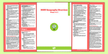 NSW Early Stage 1-3 Foundation to Year 6 Geography Syllabus Overview - australia
