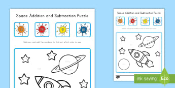 Space Addition and Subtraction Puzzle - Space, Addition, subtraction, Puzzle, math facts, fluency, numbers base ten, operations and algebrai